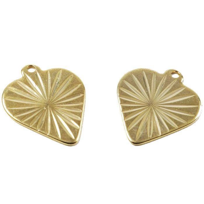 Penduricalho Coração 15x12mm Folheado a Ouro - 3 Peças - PEF_44  - ArtStones