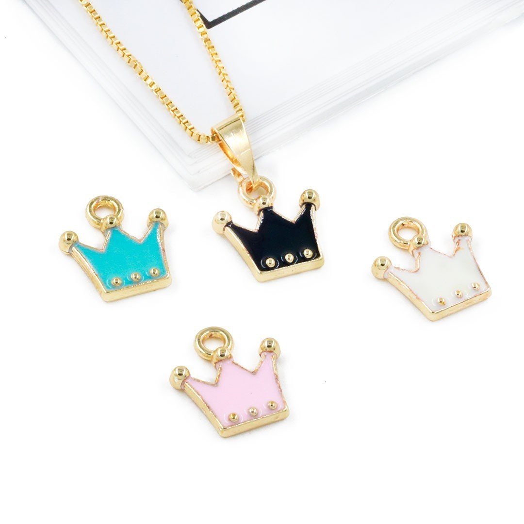 Pingentinho Coroa Metal Dourado - Cores Variadas - 4 Peças - AM208  - ArtStones