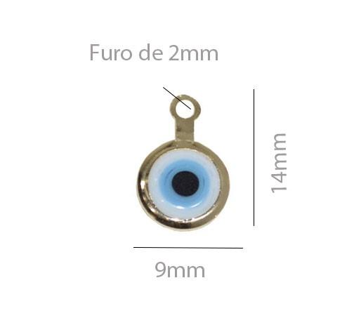Penduricalho Olho Grego 14x9mm Folheado a Ouro - 1 Peça - PEF_113  - ArtStones