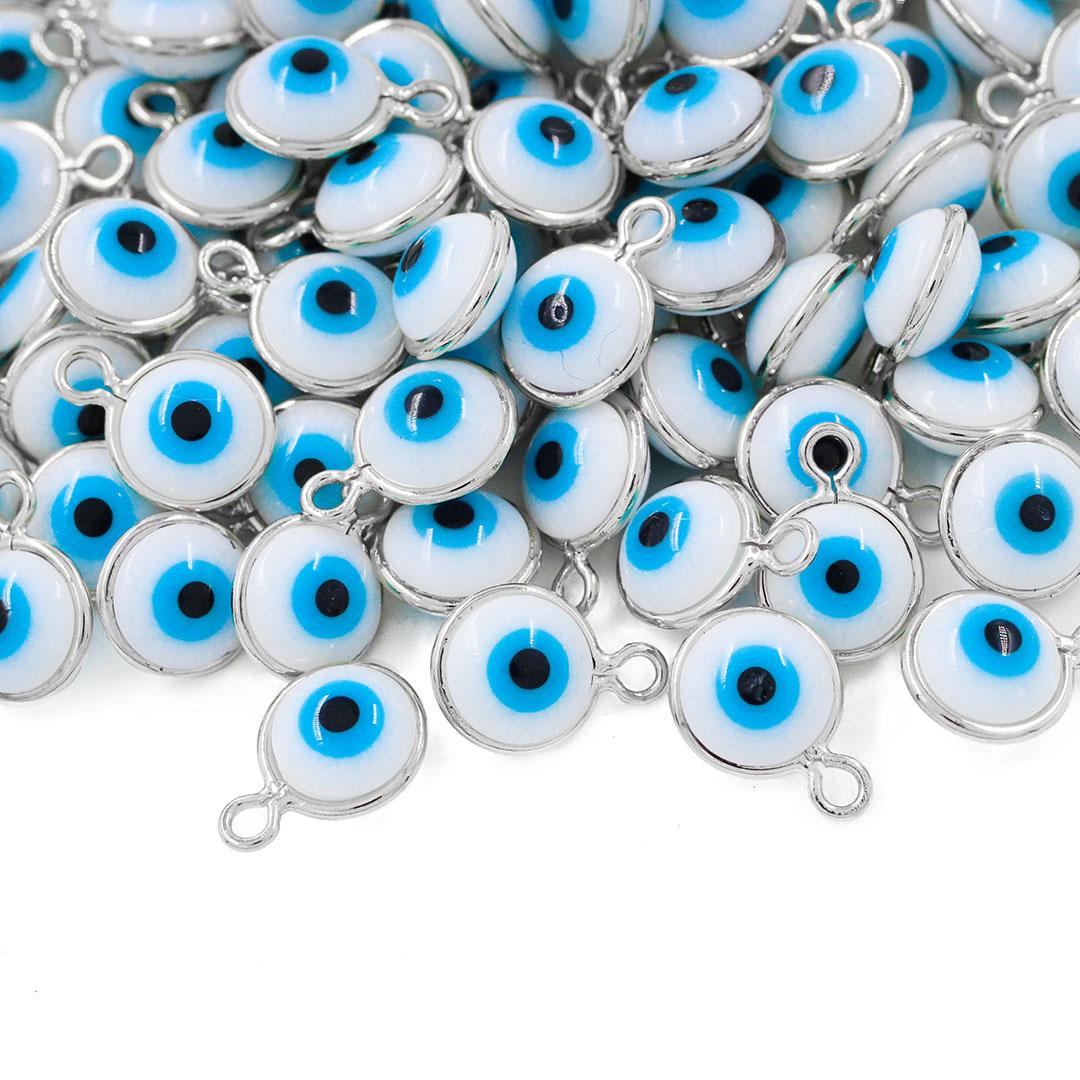 Penduricalho Olho Grego 7mm Folheado - 5 Peças - FO250  - ArtStones
