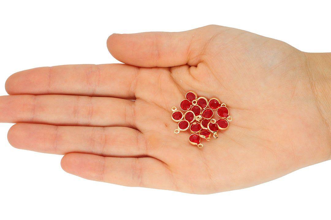 Penduricalho Cristal Colorido Redondo 7mm Folheado a Ouro - 5 Peças - FO074  - ArtStones