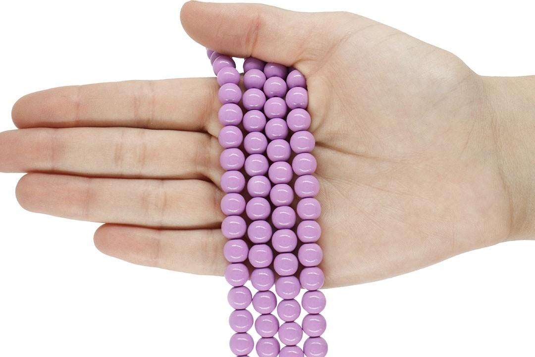 Pérola de Vidro Candy Colors Lavanda 8mm - 48 pérolas - PM013  - ArtStones