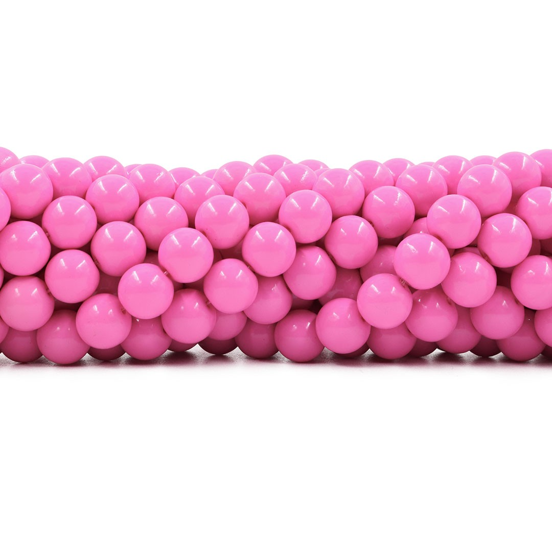 Pérola de Vidro Candy Colors Pink  10mm - 40 pérolas - PM016  - ArtStones