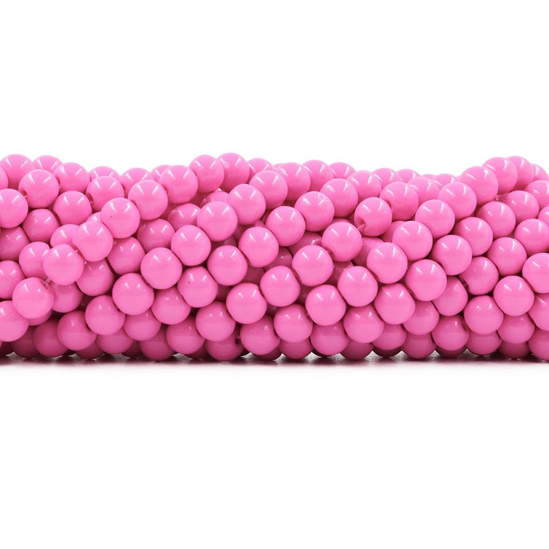 Pérola de Vidro Candy Colors Pink 6mm - 70 pérolas - PM004  - ArtStones