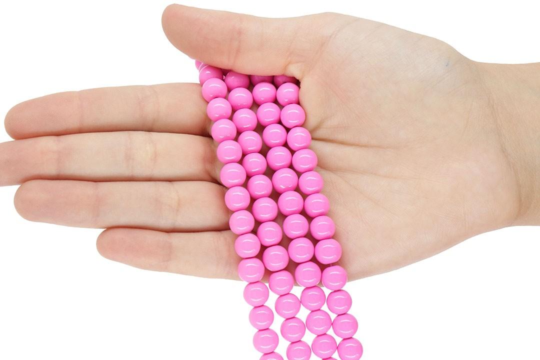 Pérola de Vidro Candy Colors Pink 8mm - 48 pérolas - PM088  - ArtStones