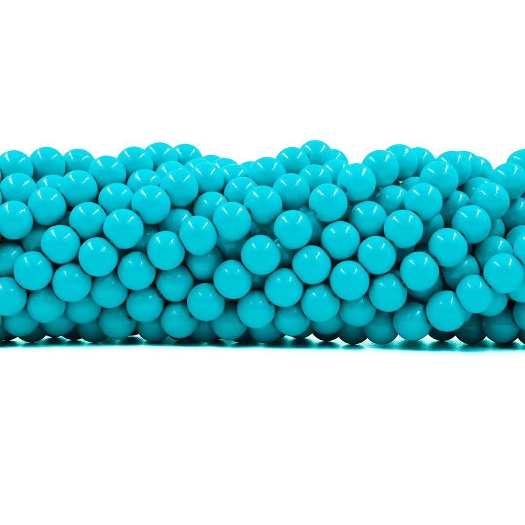 Pérola de Vidro Candy Colors Turquesa 6mm - 65 pérolas - PM098  - ArtStones