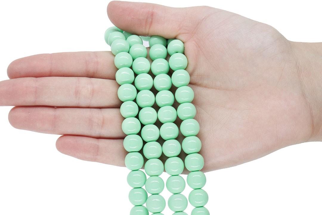 Pérola de Vidro Candy Colors Verde Bebê 10mm - 40 pérolas - PM099  - ArtStones