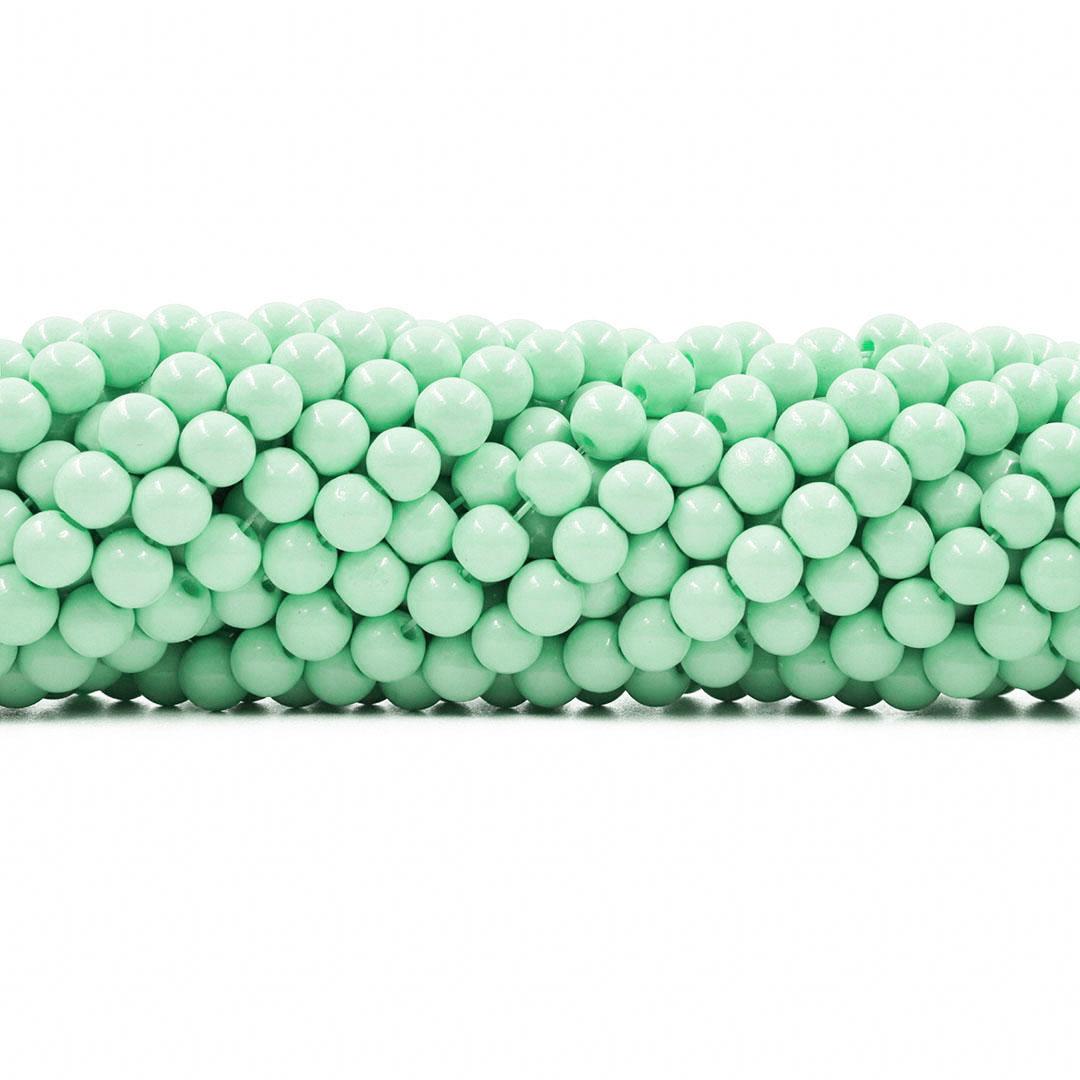 Pérola de Vidro Candy Colors Verde Bebê 6mm - 65 pérolas - PM100  - ArtStones