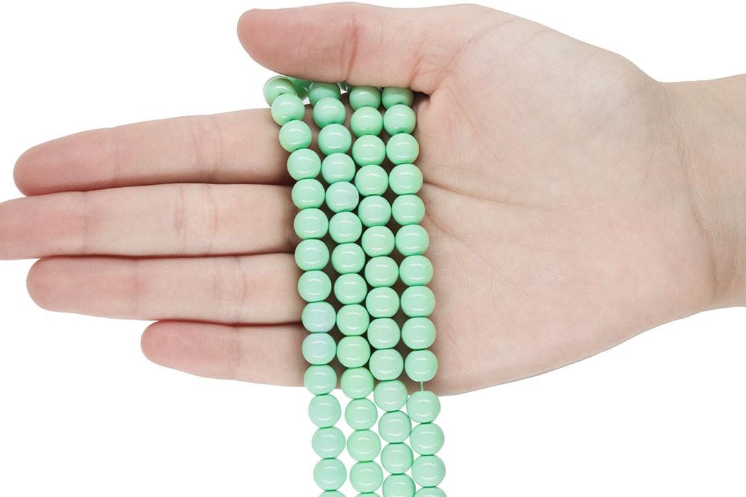 Pérola de Vidro Candy Colors Verde Bebê 8mm - 48 pérolas - PM101  - ArtStones
