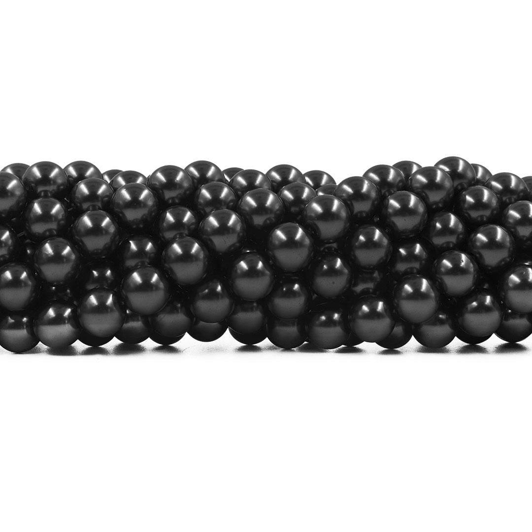 Pérola de Vidro Preto 12mm - 35 pérolas - PM150  - ArtStones