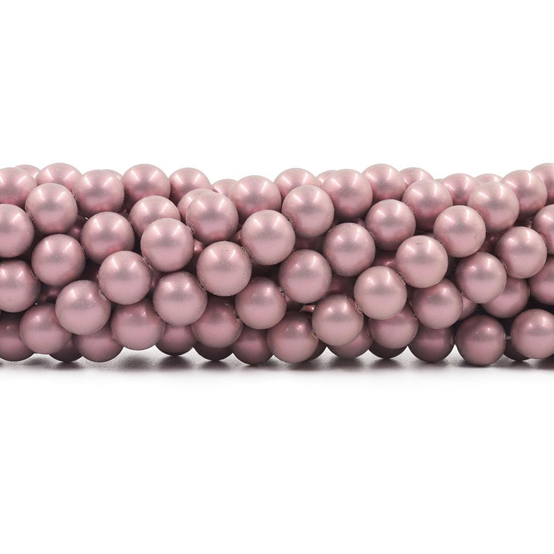 Pérola de Vidro Rose Fosco 10mm - 40 pérolas - PM136  - ArtStones