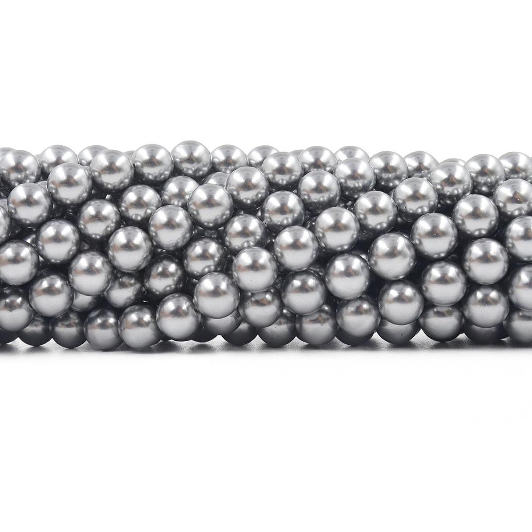 Pérola Shell Cinza Niquelada  Fio com esferas de 8mm - PM186  - ArtStones