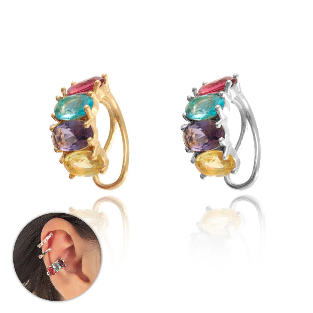 Piercing Fake Luxury Zircônias Coloridas Folheado 14x6mm - 1 Peça - FO450  - ArtStones