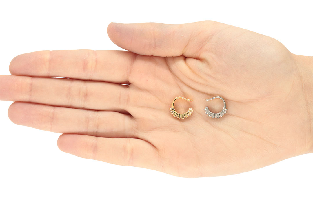 Piercing Fake Argola com Zircônias Folheado 13x2mm - 1 Peça - FO451  - ArtStones