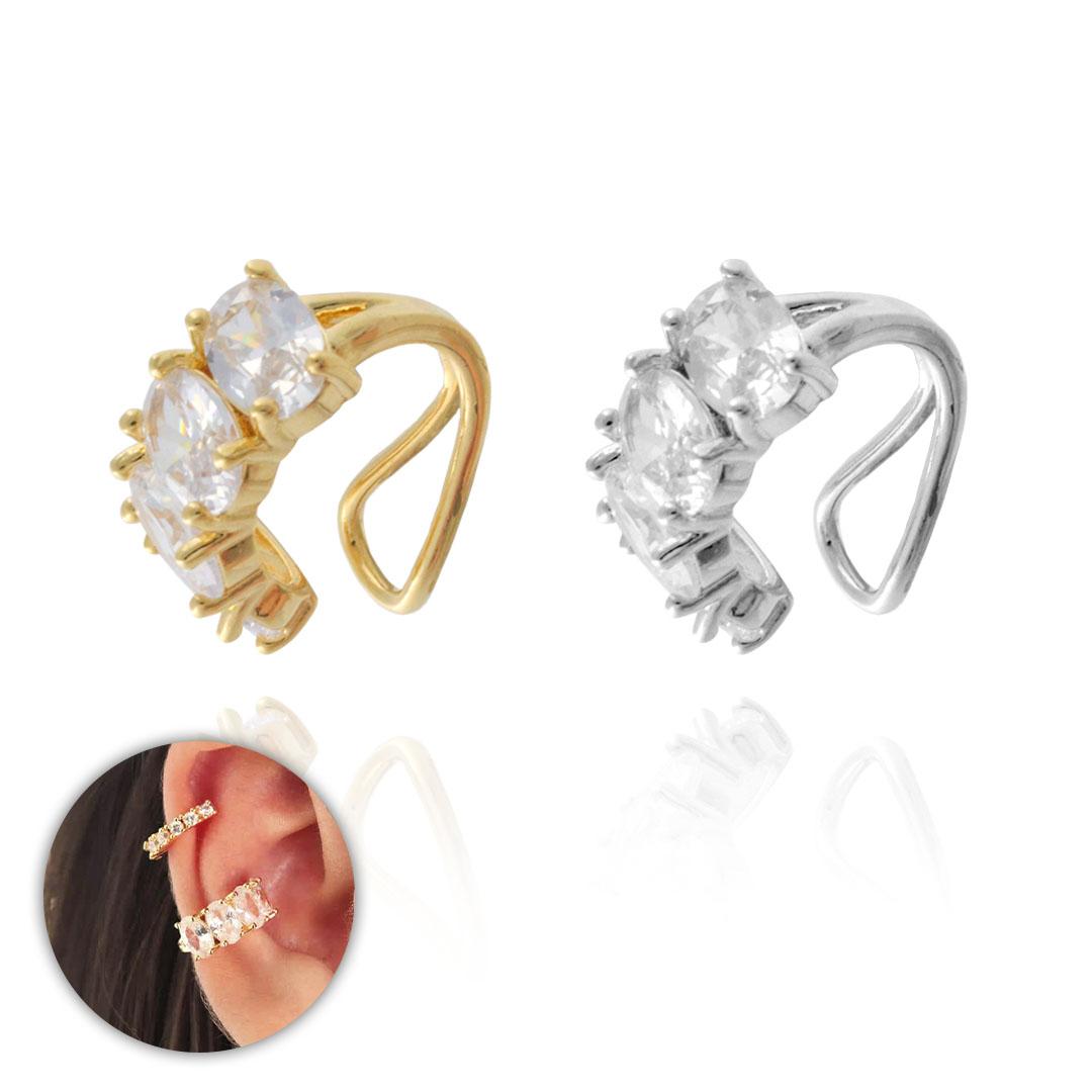 Piercing Fake Luxury Zircônia Cristal Folheado 14x6mm - 1 Peça - FO447  - ArtStones