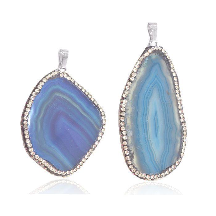 Pingente Chapa de Ágata Azul com Strass 5 a 8.5cm - 01 peça - PG026  - ArtStones