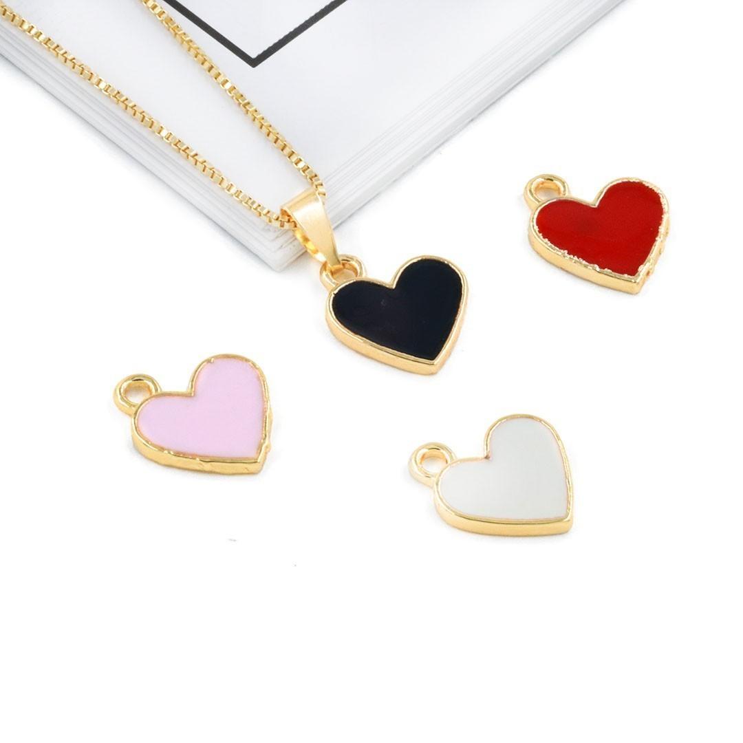Pingente Coração Metal Dourado - Cores Variadas - 2 Peças - AM213  - ArtStones
