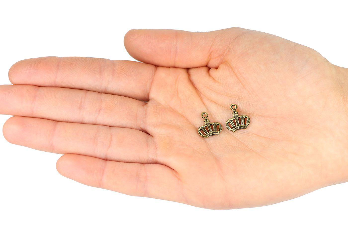 Pingente medalha Coroa Ouro Velho 12mm - 5 Peças - AM064  - ArtStones