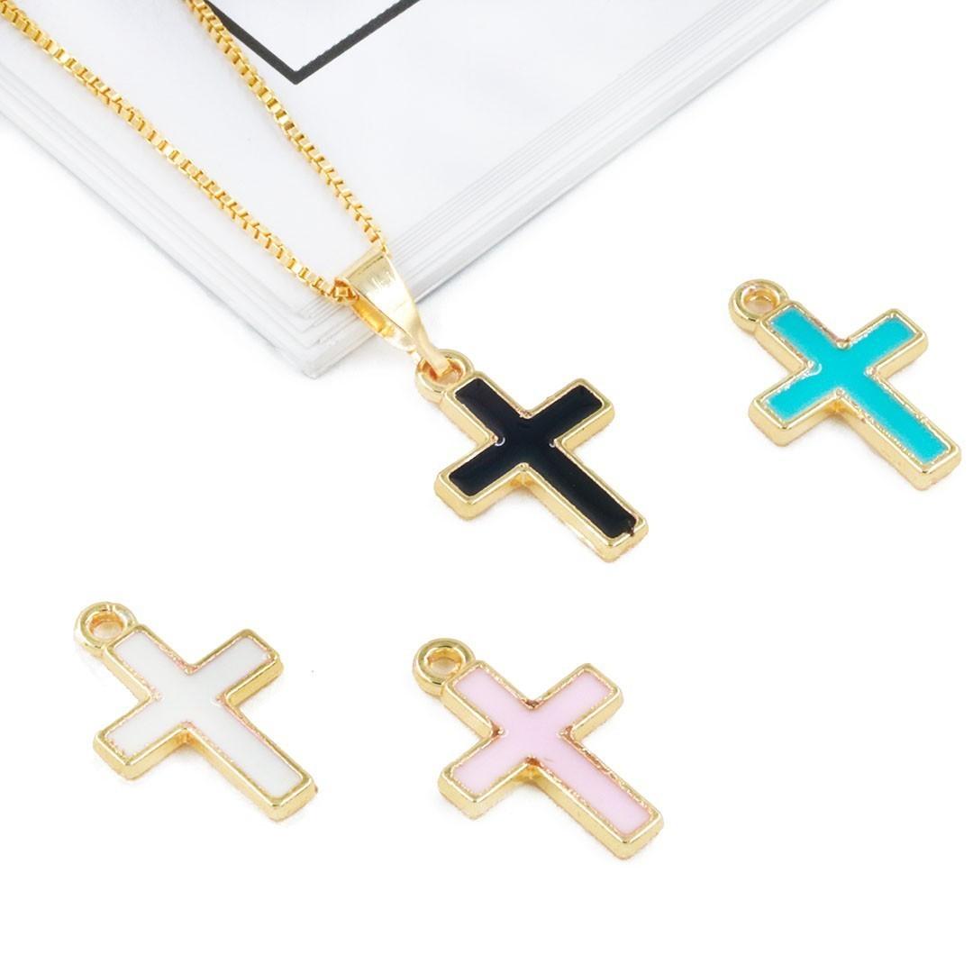 Pingente Cruz Metal Dourado - Cores Variadas - 2 Peças - AM214  - ArtStones