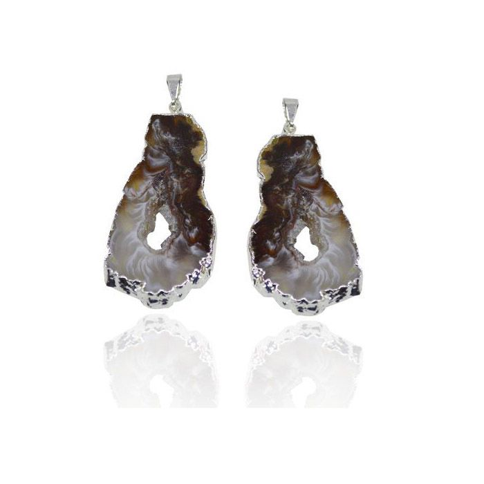 Pingente de Ágata Geodo 3 a 5cm Folheado - 01 peça - PG_308  - ArtStones