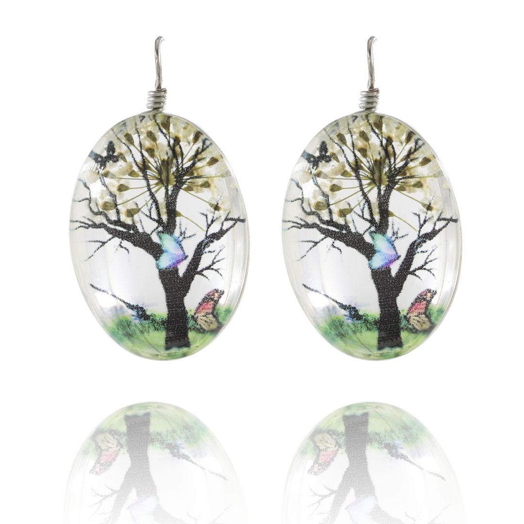Pingente de Resina Oval Árvore Da Vida 25 x 18mm - Cores Variadas - 1 Peça - PG061  - ArtStones