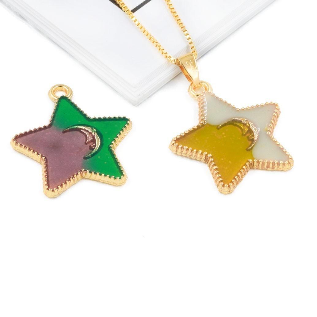 Pingente Estrela com Lua de Metal Dourado - 2 Peças - AM197  - ArtStones