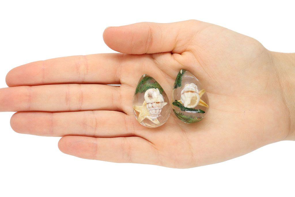 Pingente Gota de Resina Cristal Concha 33mm - 1 Peça - PG007  - ArtStones