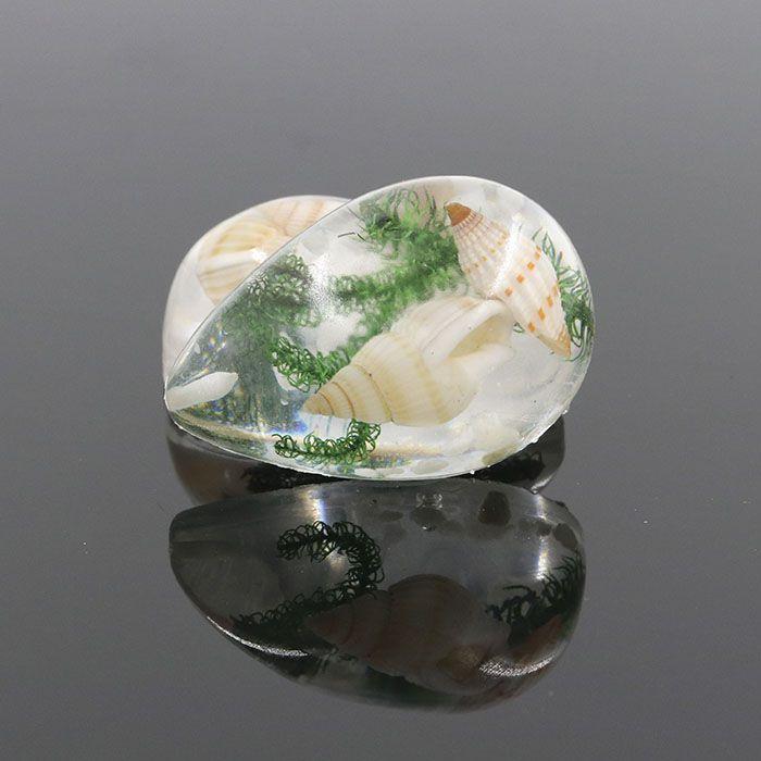 Pingente Gota de Resina Cristal Concha Mar 33mm - 1 Peça - PG009  - ArtStones