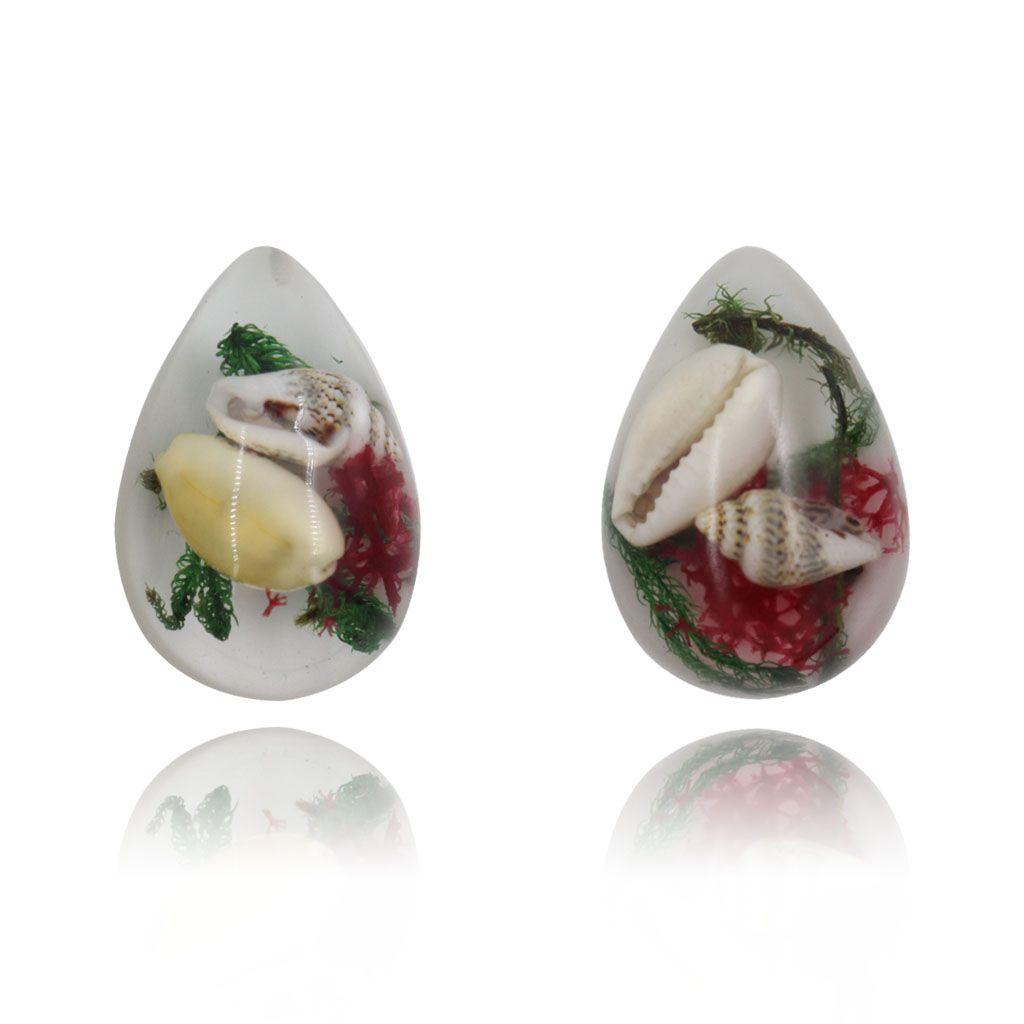 Pingente Gota de Resina Cristal fundo Branco Concha 33mm - 1 Peça - PG008  - ArtStones