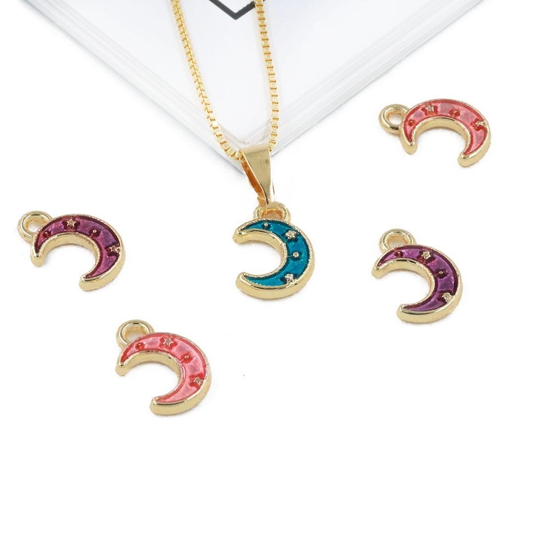 Pingente Lua Metal Dourado - Cores Variadas - 4 Peças - AM212  - ArtStones