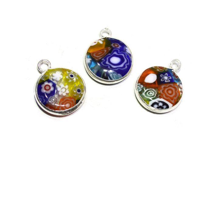 Pingente Medalha de Murano Mil Flores Prata 925 - PR082  - ArtStones