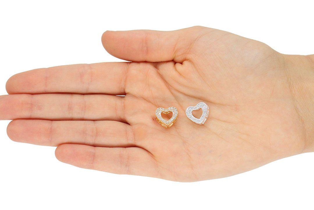 Pingente Coração com Zircônias 12mm Folheado a Ouro - 1 Peça - PEF_146  - ArtStones