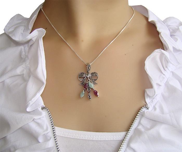 Pingente de Rubi e Esmeralda com Prata 925 - PG057  - ArtStones