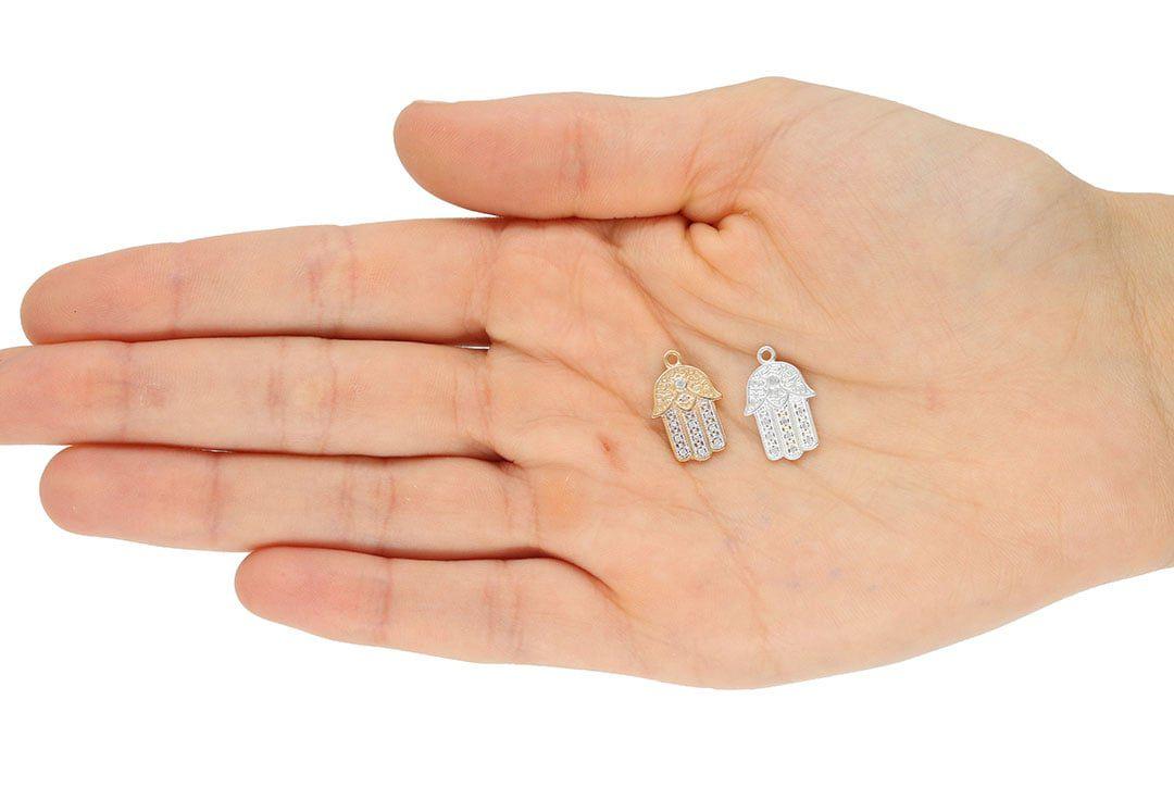 Pingente Mão Japamala com Zircônias 15x11mm Folheado a Prata - 1 Peça - PEFO_159  - ArtStones