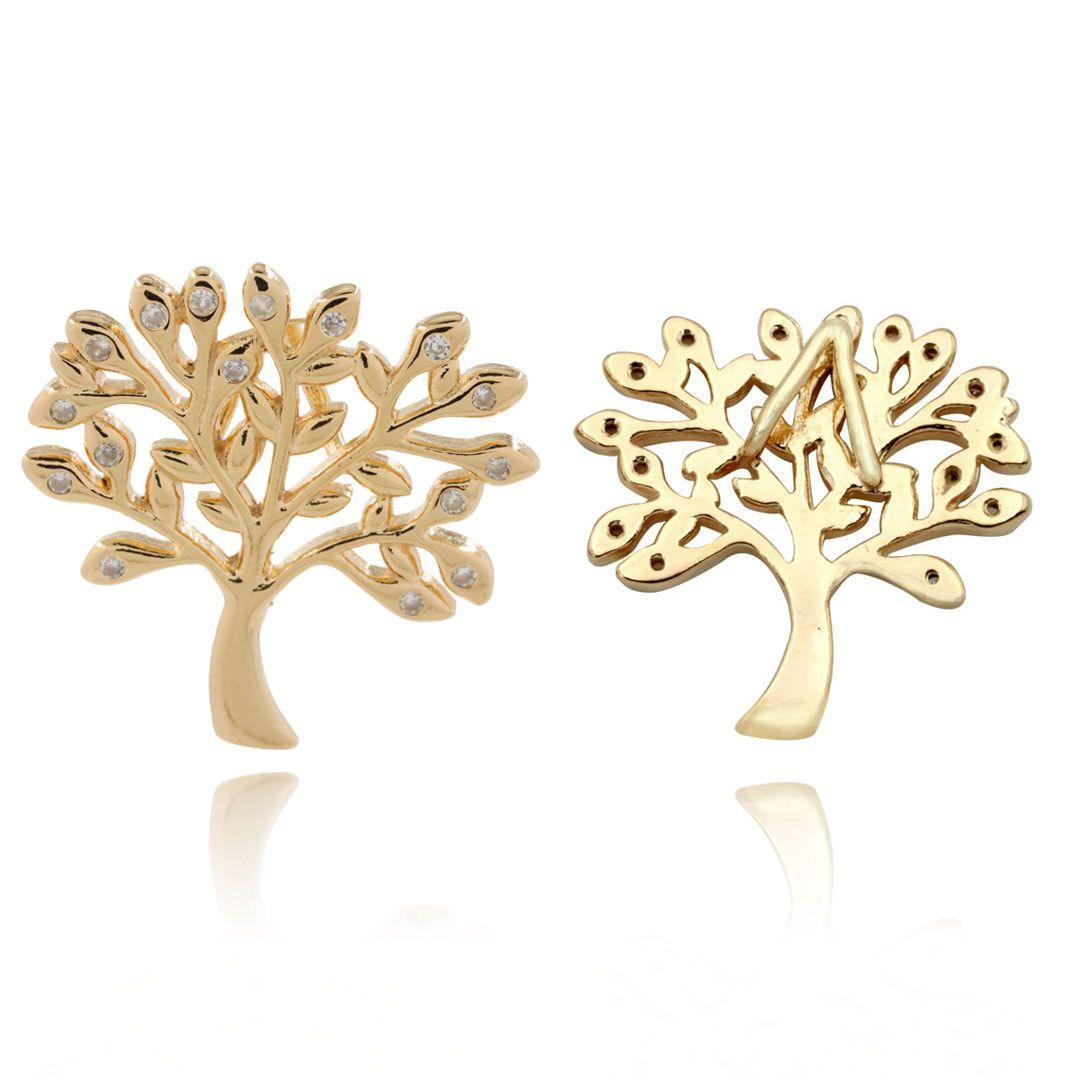 Pingente Árvore da Vida com Zircônias 23mm Folheado a Ouro - 1 Peça - PEF_136  - ArtStones