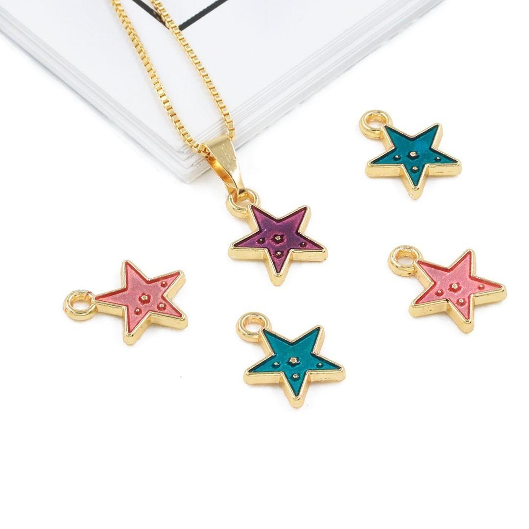 Pingente Estrela Metal Dourado - Cores Variadas - 4 Peças - AM209  - ArtStones