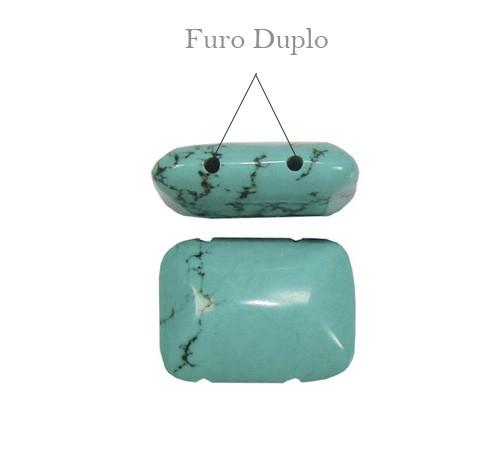 Turquesa Natural Retangular 20x15mm - 4 Peças - PMO_238  - ArtStones