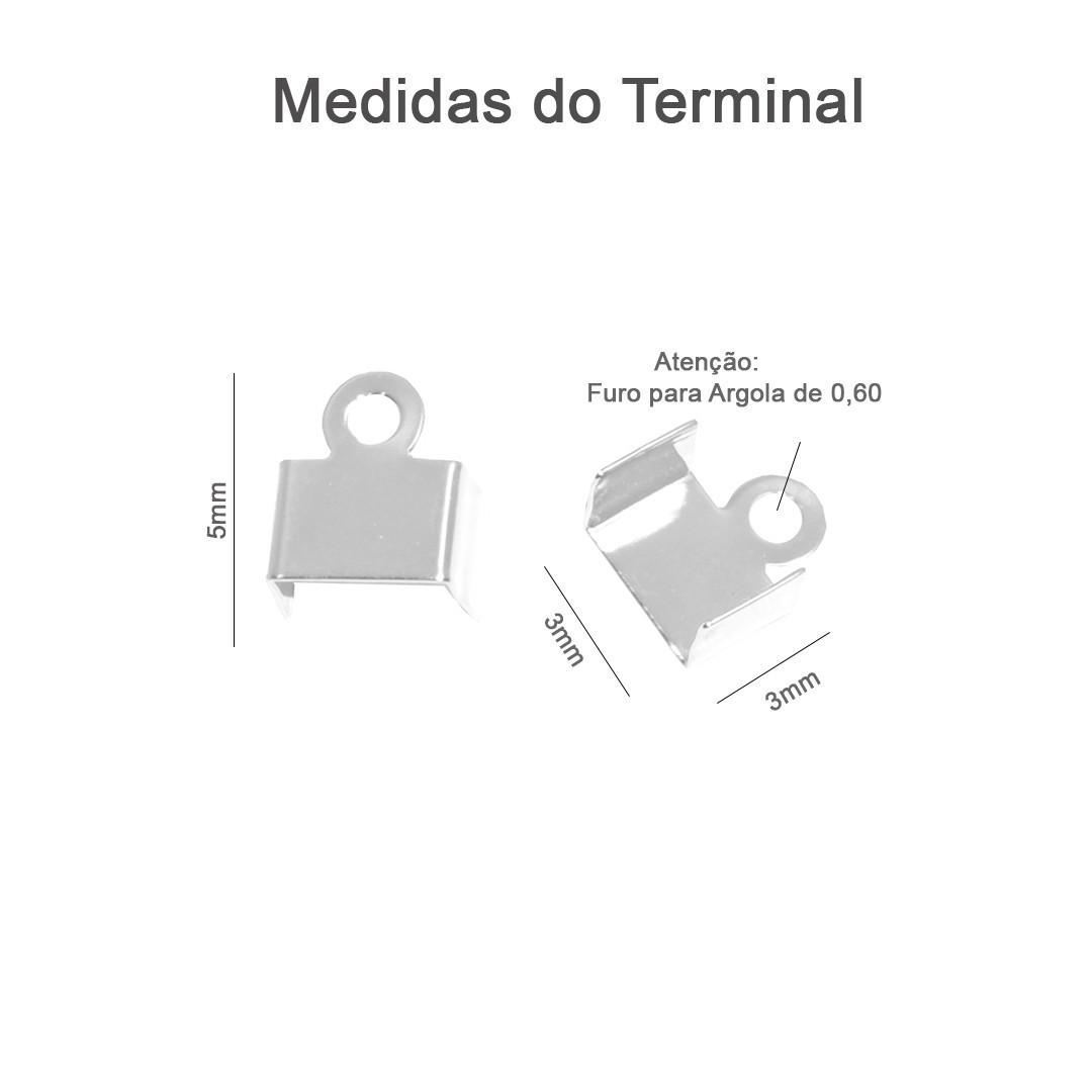 Ponteira Mini Terminal 3mm Prata 950 - 3 Pares - PR086  - ArtStones