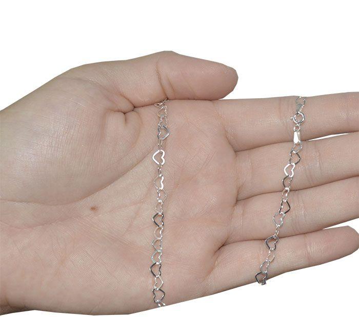 Pulseira de Prata 925 Elo Coração 19cm - PR104  - ArtStones
