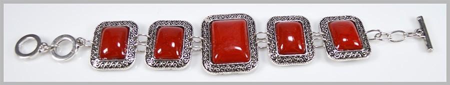 Pulseira Retangular de Howlita Coral com Metal Niquelado - SJ032  - ArtStones
