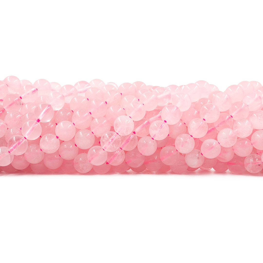 Quartzo Rosa sem Tinta Fio com Esferas de 8mm - F742  - ArtStones
