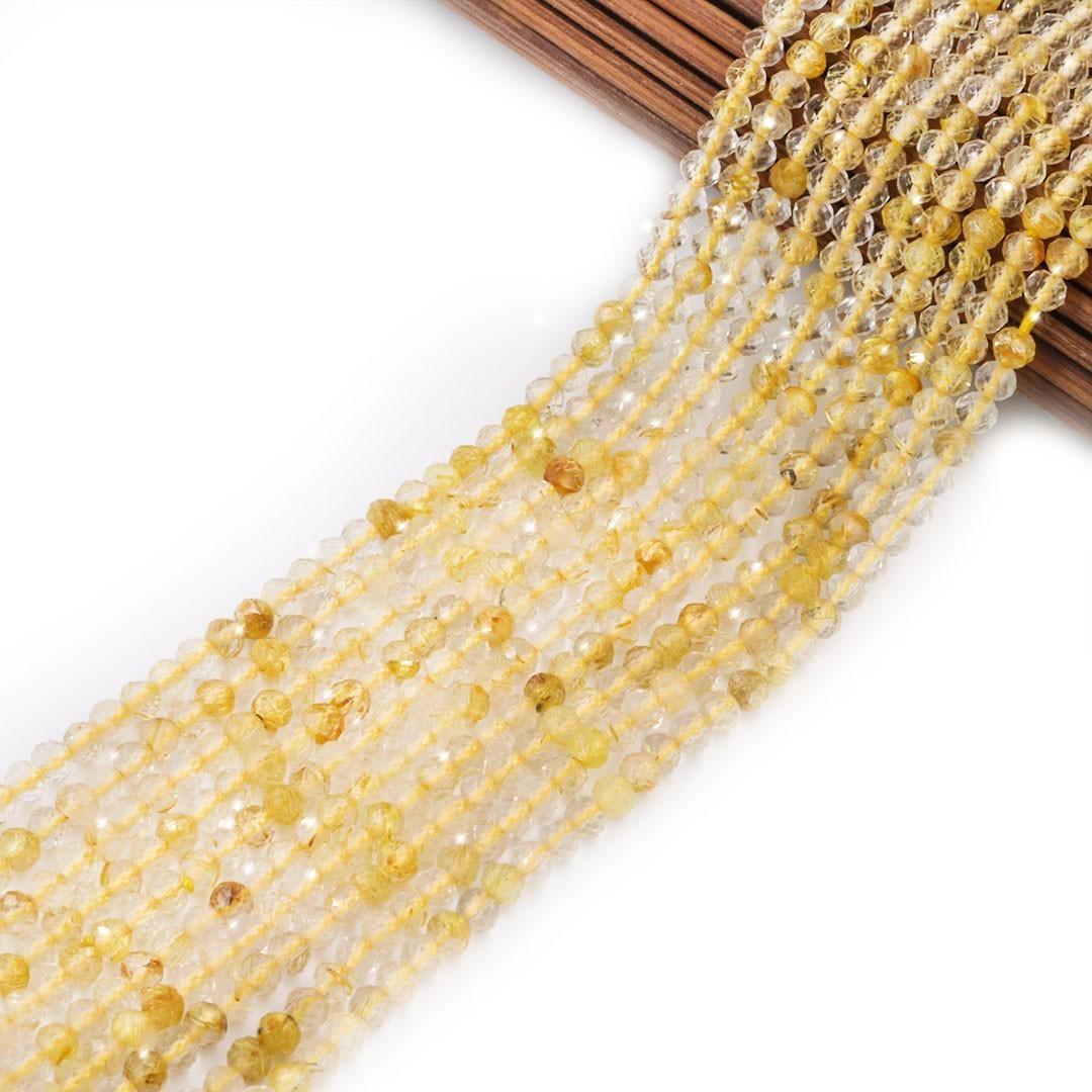 Quartzo Rutilo Gold Natural Extra Brilho Fio com esferas Facetadas de 2.2mm - PP047  - ArtStones