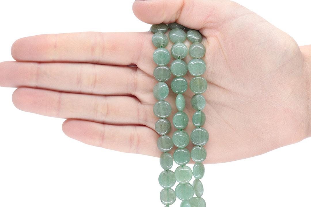Quartzo Verde Aventurina Moeda de 10mm - F501  - ArtStones