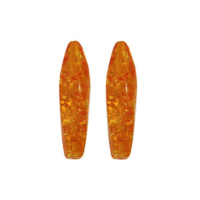 Resina Âmbar Formato Barril Ondulado 38x9mm - 4 Peças - CF_334  - ArtStones