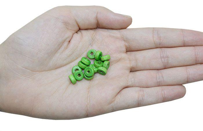 Rodelinha de Madeira Verde 8x3mm - Pacote - CM039  - ArtStones