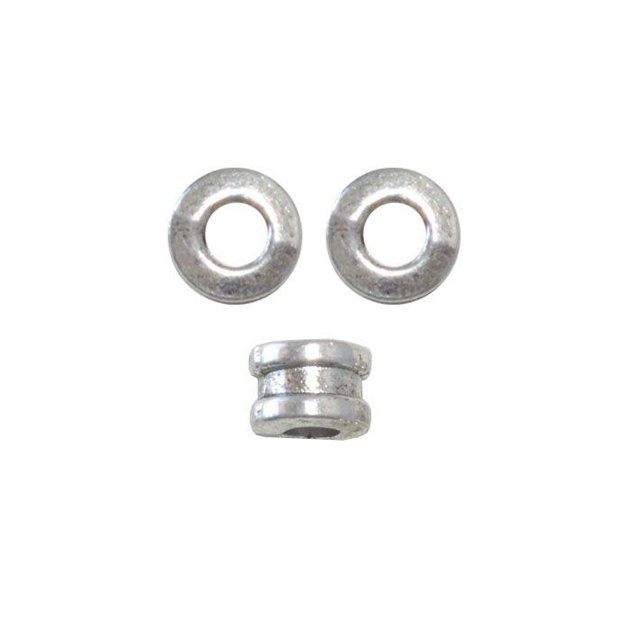 Separador de Metal Niquelado 6mm - 10 peças - AM025  - ArtStones