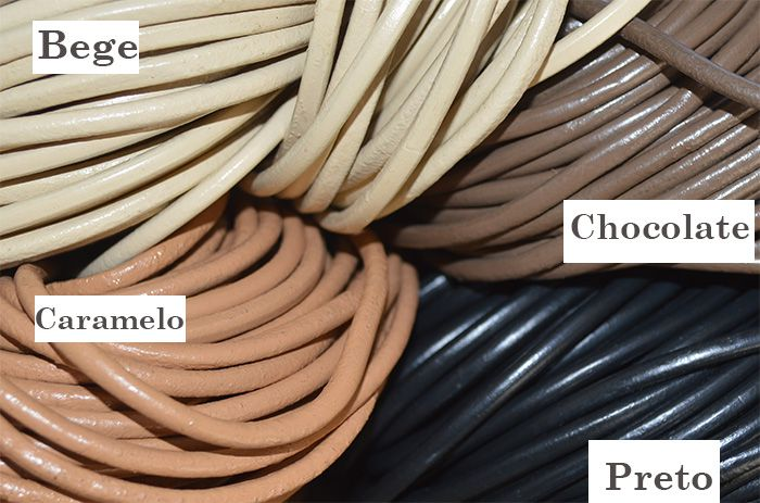 Rolo de Couro Natural Roliço 4mm Cores Variadas - MM083  - ArtStones