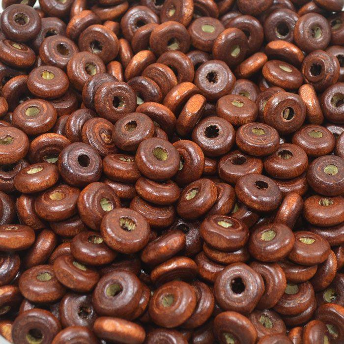 Rondel de Madeira Castanha 8x3mm - 100grs - EMA_166  - ArtStones