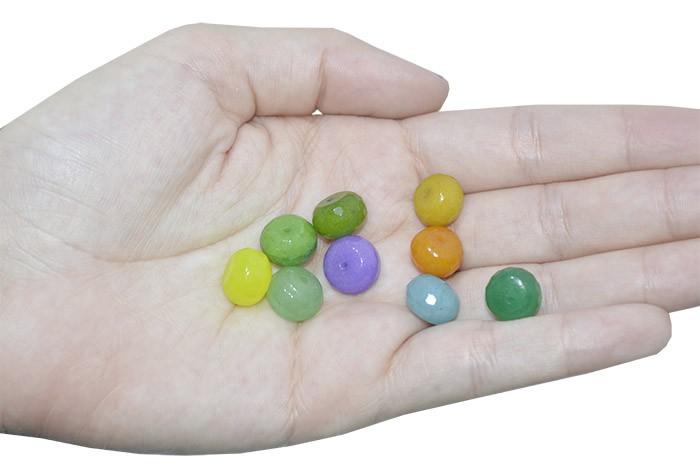 Briolet de Jade Natural 12mm Cores Variadas - 4 Peças - PA025  - ArtStones