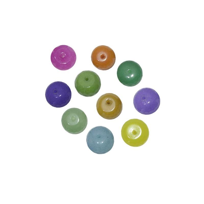 Briolet Facetado de Jade 6mm Cores Variadas - 20 peças - PA044  - ArtStones